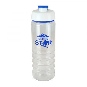 750ml single walled, translucent, Tritan plastic drinks bottle. Features include a white PP lid with a coloured PE flip top and matching coloured silicon trim. The bottom half of the body is ridged for easy grip. BPA & PVC free. Available in blue, red and white.