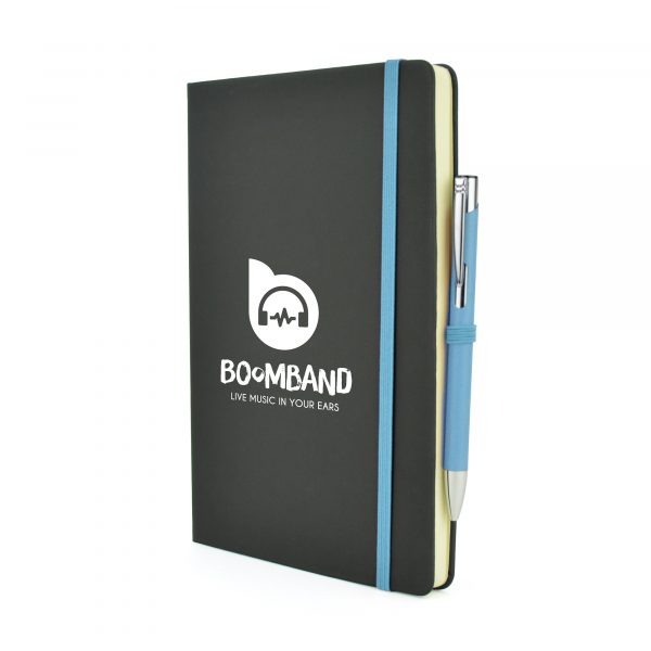 2-in-1 A5 black PU soft finish notebook with a matching Mole Mate Ball Pen. Pen colour matches the notebooks coloured trim including pen loop, ribbon bookmark and elasticated closure. Available in a variety of colours.