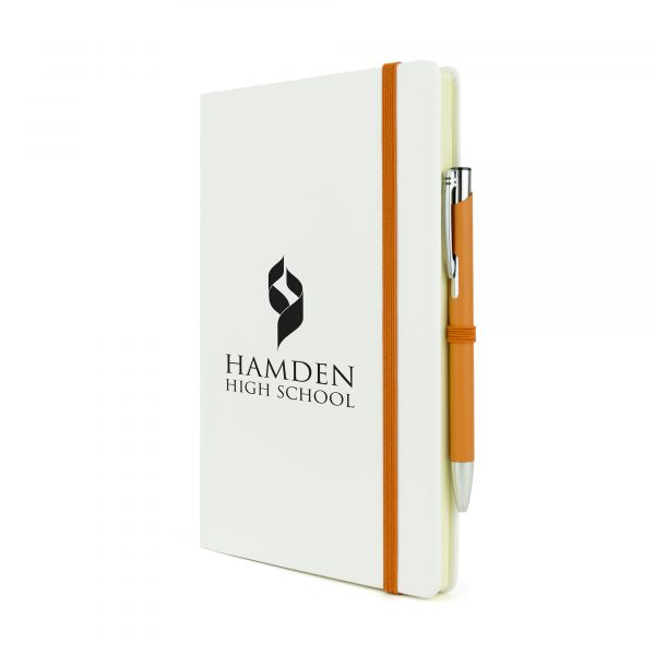 2-in-1 A5 white PU soft finish notebook with matching Mole Mate Ball Pen. Pen colour matches the notebooks coloured trim including pen loop, ribbon bookmark and elasticated closure. Available in a variety of colours.