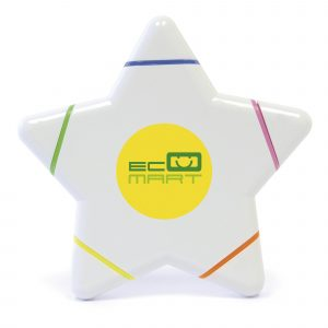 Large star shaped highlighter with 5 coloured highlighters. Blue, Green, Yellow, Orange and Pink.