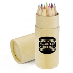 12 Piece coloured pencil set with natural wood finish in a cardboard cylinder.