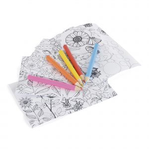 Transparent plastic tube containing 5 colouring sheets and 5 colouring pencils. Available in transparent with silver lid.