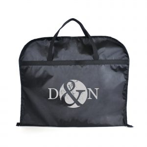 210D black polyester zipped fold over suit bag with carry handles.