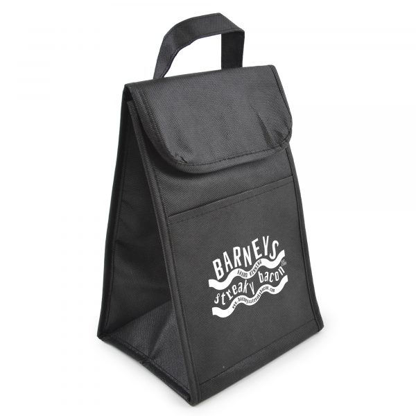 80gsm non woven cooler lunch bag with coloured trim, Velcro close, small front pocket and carry handle..