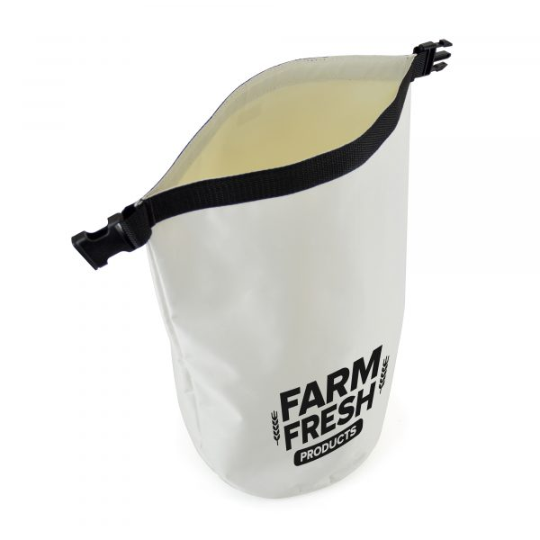 210D polyester weatherproof dry bag with buckled strap closure to securely fasten. Available in white with black buckled strap. Not suitable for full submersion.