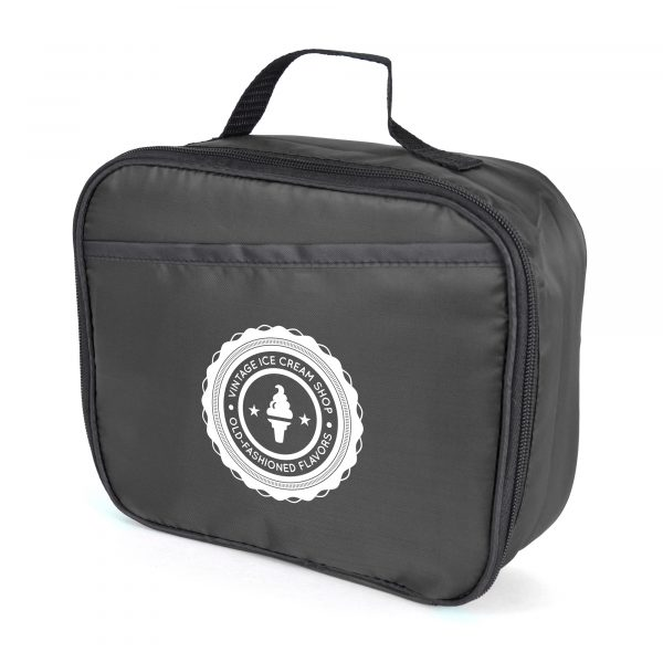 210D coloured polyester cooler bag with black trim, main zipped compartment, small outside pocket and carry handle.