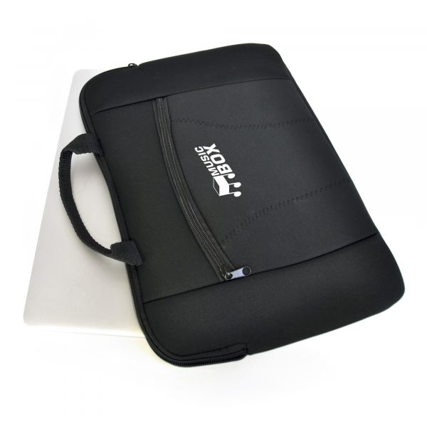 """Deluxe neoprene laptop sleeve with handles to fit 15"""" widescreen laptop. Includes front zipped pocket."""