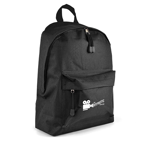 Budget 600D polyester backpack with small front pocket. Includes base board, padded back and curved shoulder straps