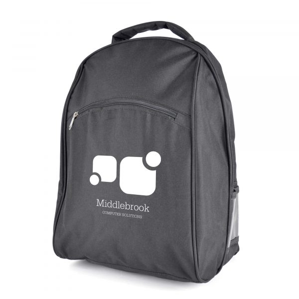 600D polyester rucksack with padded laptop compartment. Includes large main zipped pocket, small front pocket with pen holder, clear pocket to the side and padded backing, shoulder straps and carry handles.
