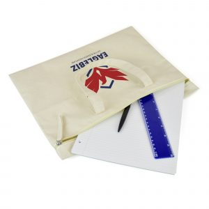 10oz cotton canvas file holder with zip closure on the front and short carry handles. Available in natural.