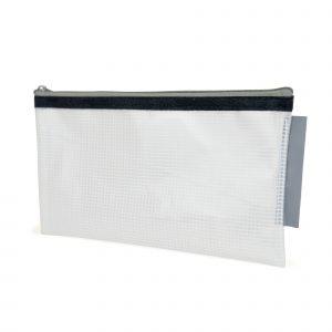 EVA mesh translucent zipper pencil case with black trim and crosshatch design. Available in translucent with grey zipper and black trim