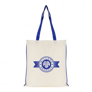 Natural 5oz cotton shopper with coloured piping and handles.