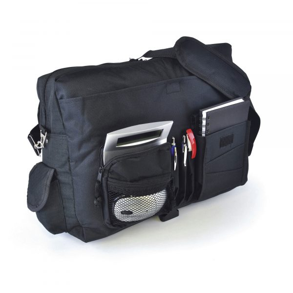 600D polyester laptop bag with adjustable strap and buckle clasp. With laptop space. 2 document holders, 2 mesh pockets, 2 smaller Velcro sections, 3 zipped pockets and 3 pen compartments.