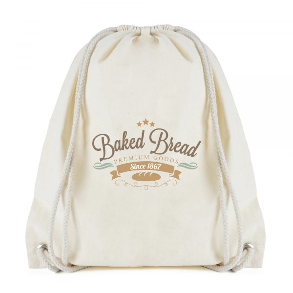 5oz natural coloured cotton drawstring bag with matching string handles