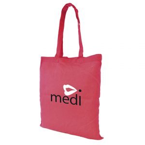 Budget coloured cotton shopper tote bag with long handles. Material weight between 3-4oz. Available in 12 colours.