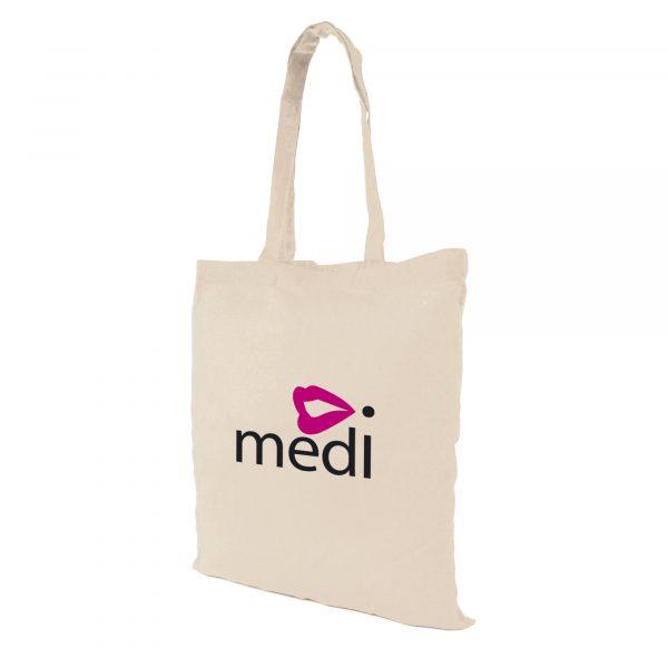 5oz budget natural coloured cotton shopper tote bag with long handles.