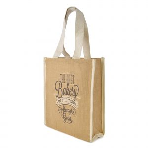 Jute shopper with gusset, cotton handles, laminated backing and cotton trim