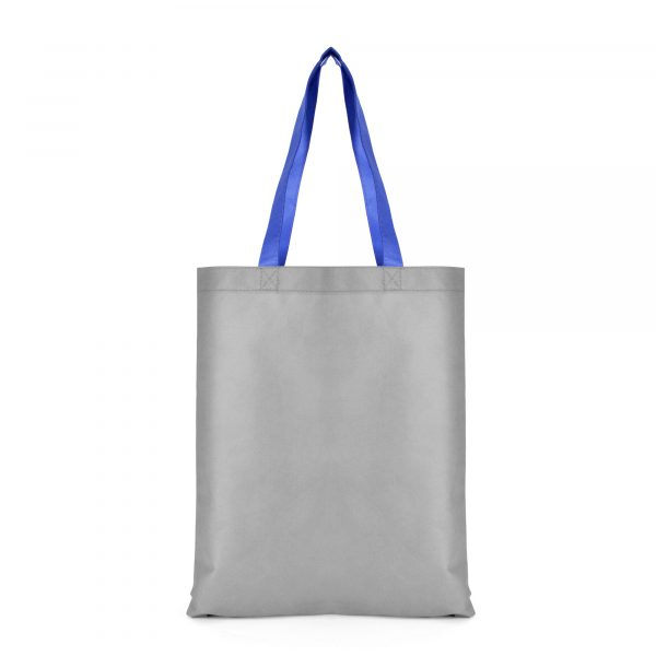 Recyclable 80g non woven two tone shopper with one grey and one coloured side plus long coloured handles