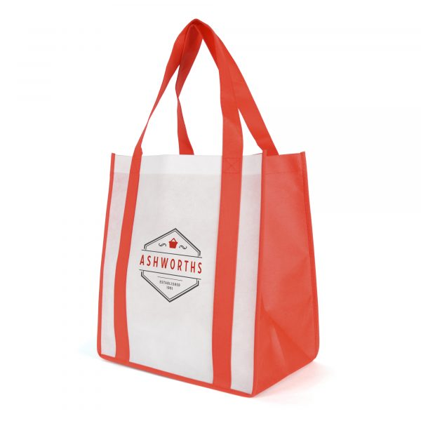 80gsm non woven PP white bag with coloured trim, handles and gusset with baseboard.