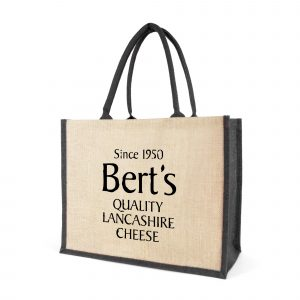 The classic jute bag. Made from natural jute and in landscape profile with coloured gusset, rope handles and jute trim. Available in black, blue and red.