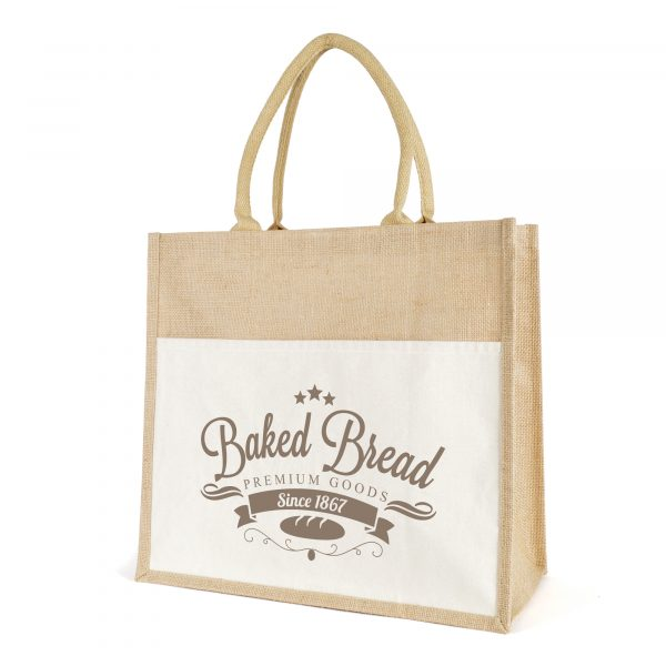 Large laminated jute shopper with short rope handles. 10oz cotton canvas with front pocket
