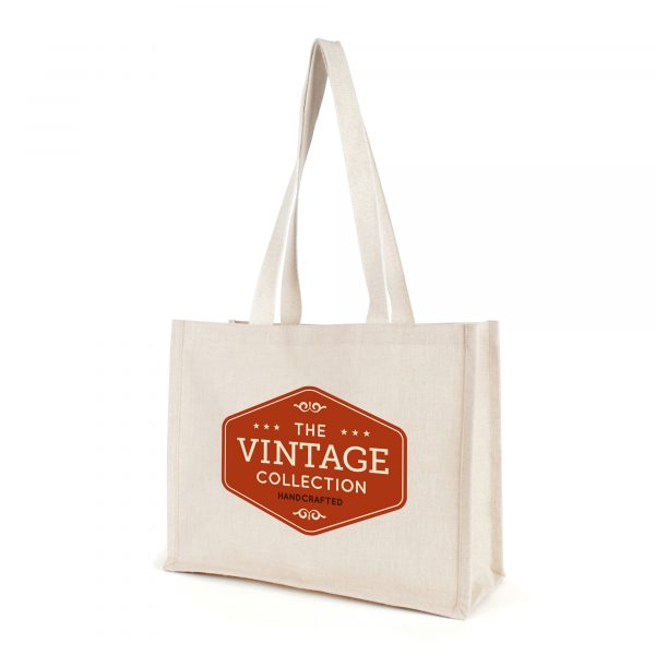 Natural laminated juco shopper with gusset and long flat cotton webbing handles.