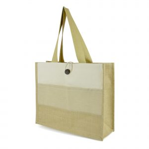 Large laminated natural jute shopper with juco and 10oz cotton canvas stripped design to the front. Features include long cotton webbing handles, button-loop closure, front pocket and strong gusset. Available in natural.