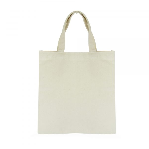 10oz cotton canvas shopper with short cotton fabric handles. Available in natural.