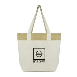 Large 10oz cotton eco-friendly shopper with natural jute stripe and long handles. Available in natural