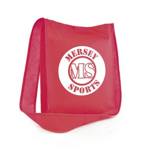 Recyclable 80gsm non woven PP small shoulder bag with Velcro fastening and gusset.
