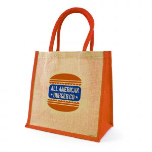 Natural, eco-friendly jute bag with gusset, rope handles, jute trim and laminated backing. Available in 7 colours.