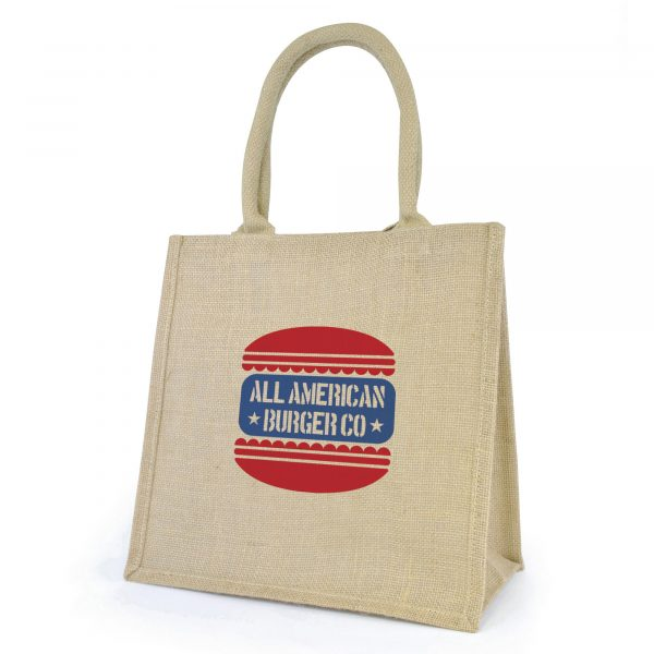 Natural, eco-friendly jute bag with gusset, rope handles, just trim and laminated backing. Available in natural.