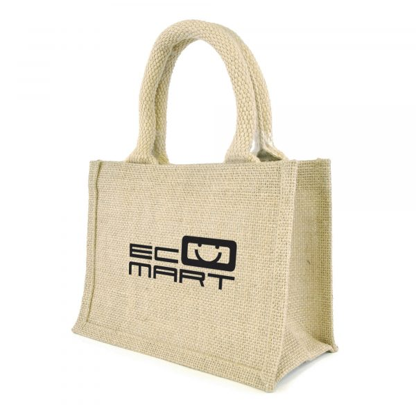 The mini natural jute bag with gusset, rope handles, jute trim and laminated backing. Available in natural.