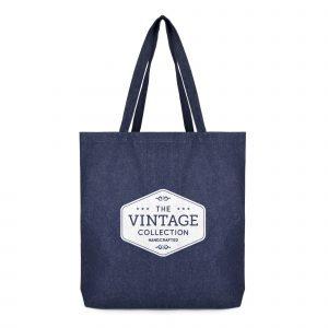 Large 10oz denim cloth cotton shopper bag with long denim handles and gusset. Available in blue denim.