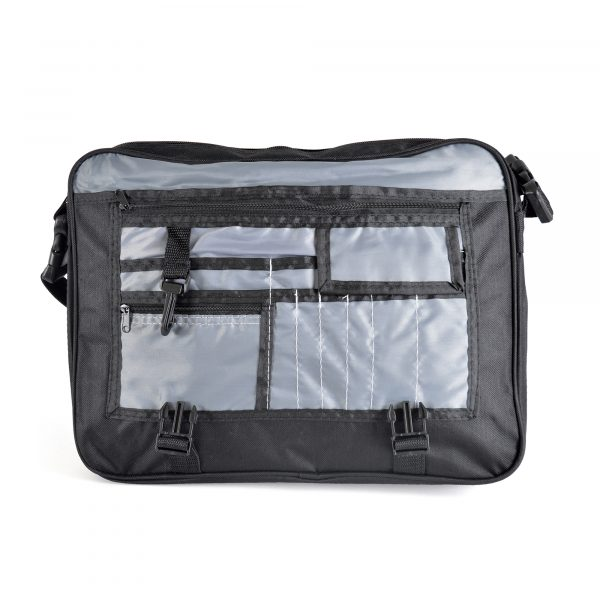 600 D laptop satchel bag with coloured front flap with zipped pocket, carry handle and shoulder strap. One large main zipped compartment, additional pockets, stationary organiser and dog clip. The bag seals with two plastic buckles.