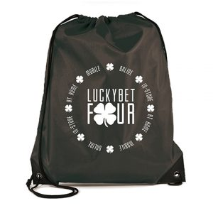 The best selling drawstring bag made from 210D polyester with PU corners and black string. Available in 19 colours