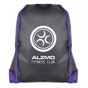210D black polyester drawstring bag with coloured string and corners. Available in black with 7 colours.