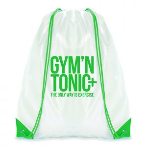 210D white polyester drawstring bag with coloured string and corners.