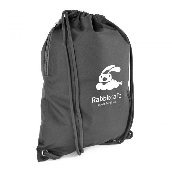 300D polyester drawstring bag with thick black cord handles and zipped side pocket.