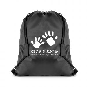 210D polyester drawstring bag with black string shoulder straps with built in Velcro safety breaks. Available in 3 colours.