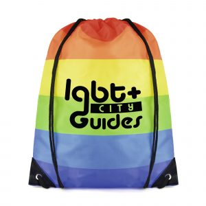 210D polyester drawstring bag with horizontal stripe rainbow coloured print and black string straps. Available in rainbow.