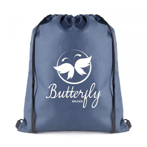 300D polyester denim look drawstring bag with black cord handles
