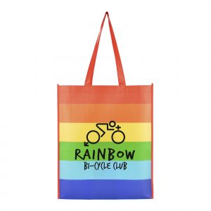 Eco-friendly 80gsm non woven PP shopper with horizontal rainbow print, gusset and long handles. Available in rainbow.