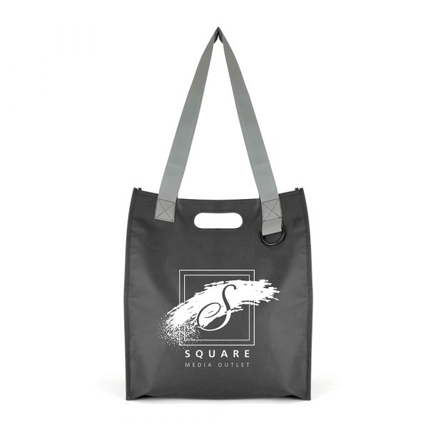Recycled 80gsm non woven shopper with long grey handles, integrated carry handles and ring attachment. Available in black, red, blue and white.