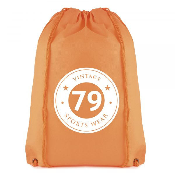 Recyclable 80gsm non woven PP drawstring bag with matching coloured string.