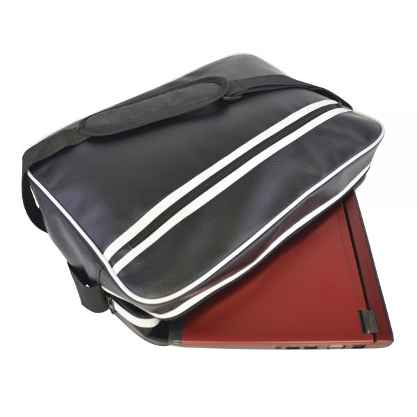 PU retro style zipped laptop bag with padded laptop compartment and Velcro tab close. With zipped front pocket and adjustable, padded shoulder strap. Bag finished with front and back white trim and horizontal stripes.