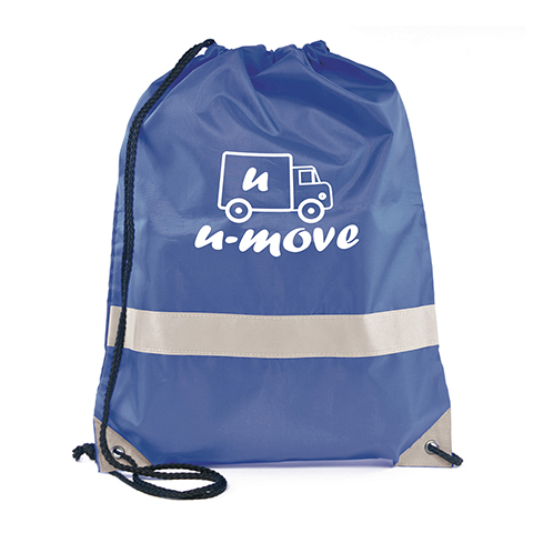 210D polyester drawstring bag made in high visibility colours with a reflective band. Available in 5 colours.