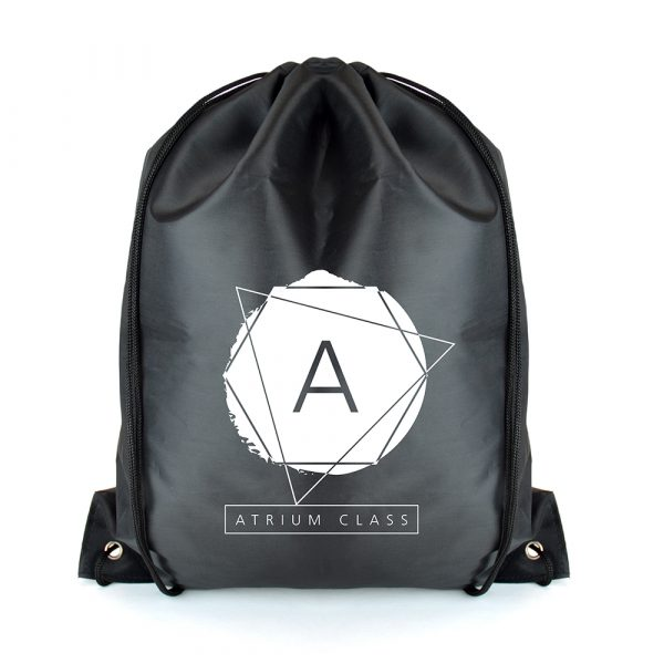 RPET 210d polyester bag with drawstring handles. Available in black with matching PU corners and drawstrings in black.