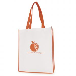 Recyclable 80gsm non woven PP shopper with gusset, coloured handles and trimming. Available in 9 colours.