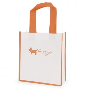 Recyclable 80gsm non woven PP mini shopper with gusset, coloured handles and trimmings.